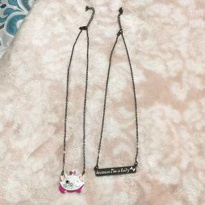 2 Disney Aristocats Necklaces. Marie